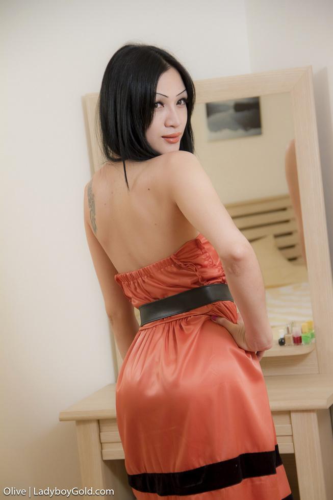 Asian T-Girl Olive - Olive Mirror Masturbation