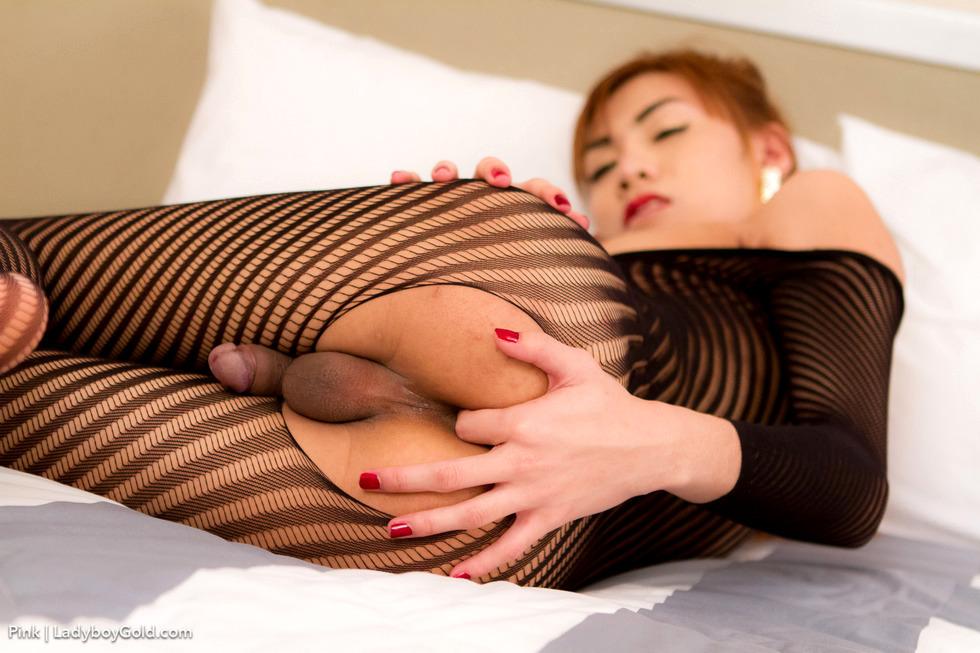Bangkok Transexual Pink - Pink Tight Striped Bodysuit