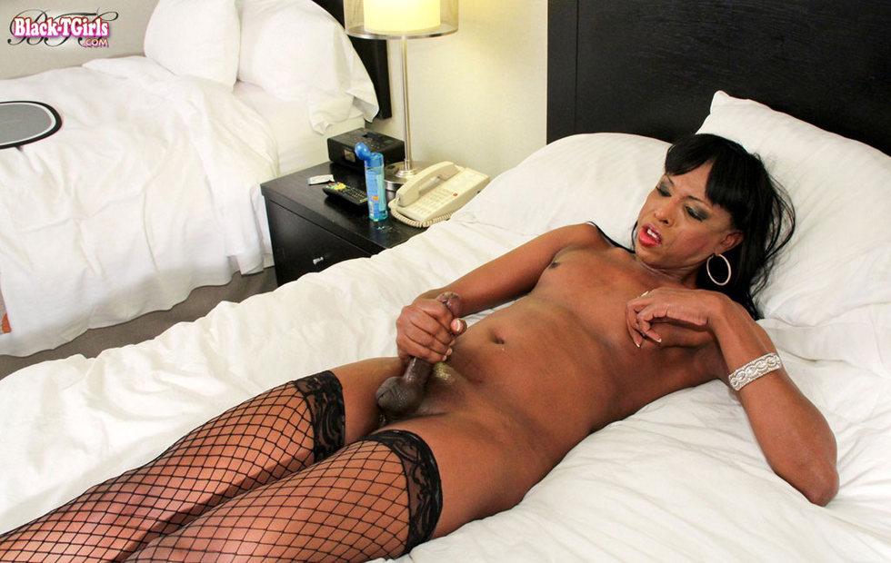 Black T-Girl Ashley Foxx - Ashley Foxx In Fishnets