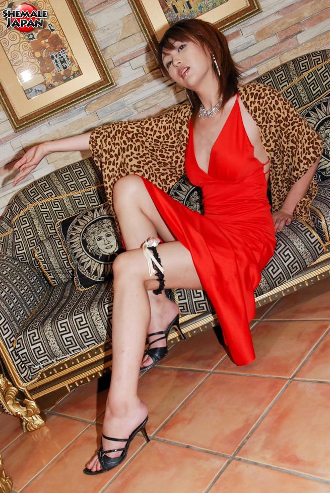 Japanese T-Girl Emiru - Emiru Leopard Shawl Red Dress
