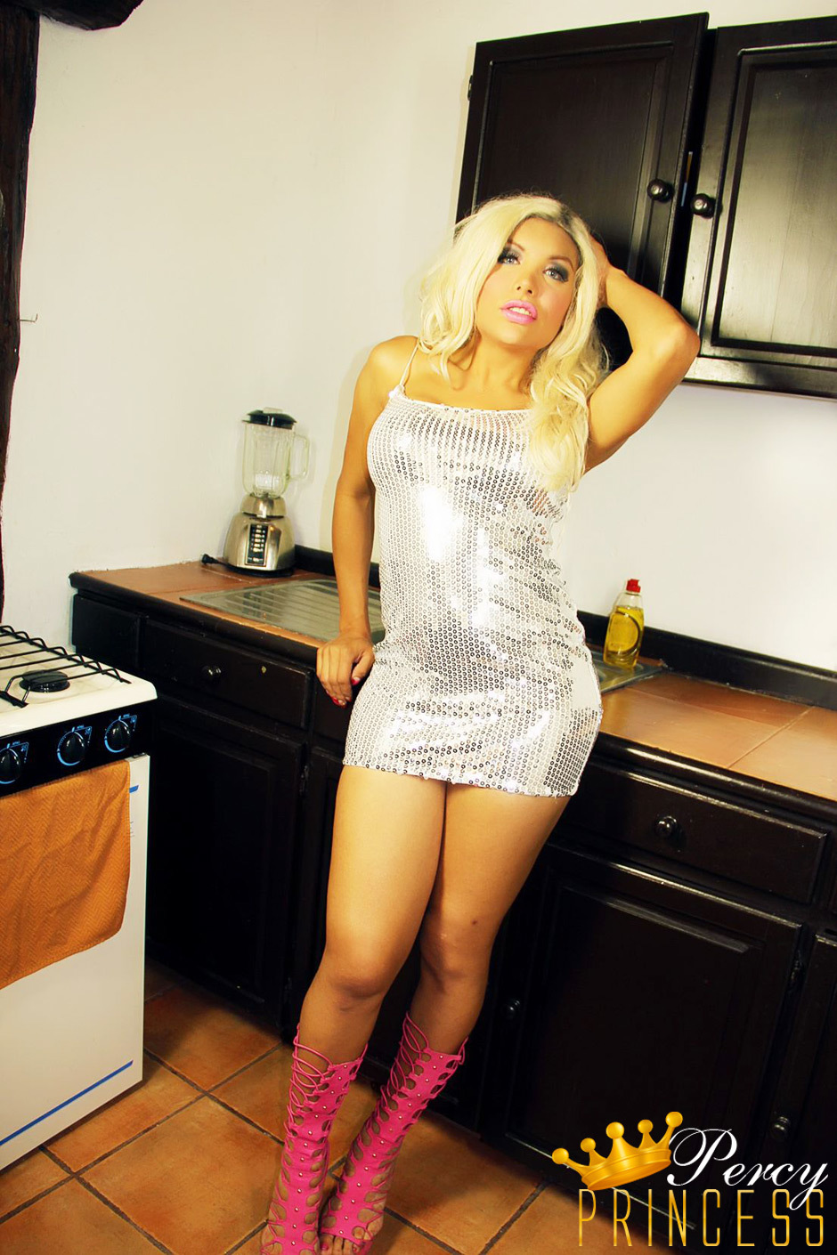 Ladyboy Percy Princess - Exclusive Kitchen Upskirts And Masturbating Off Pictures