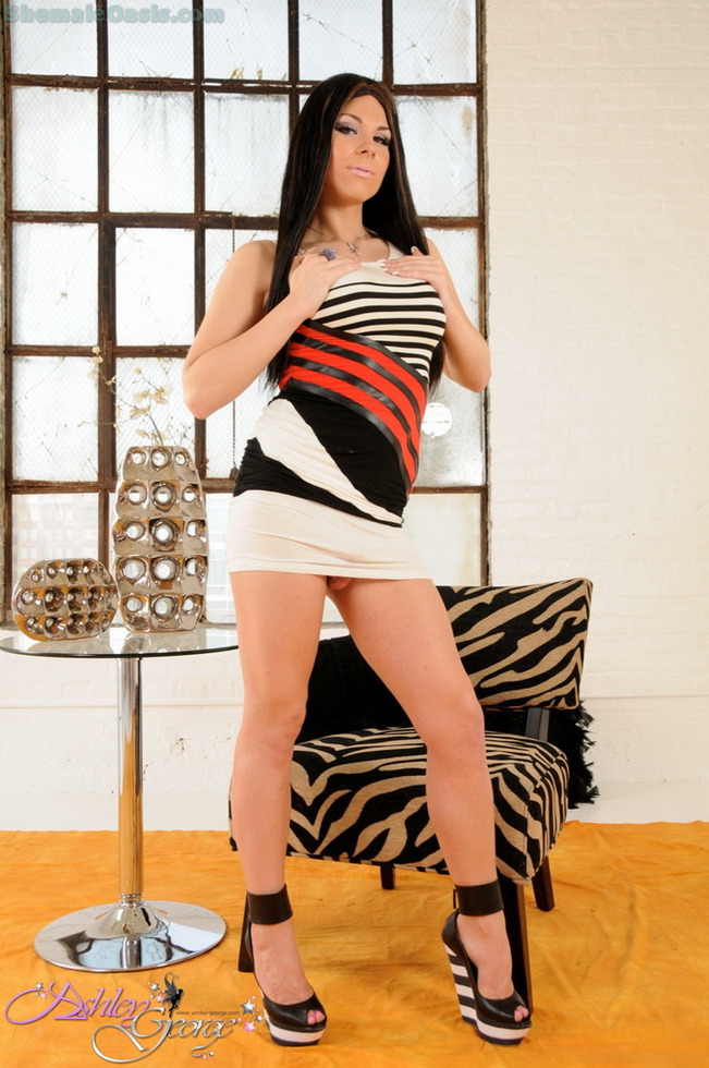 T-Girl Ashley George - Voluptuous Wedge Heels