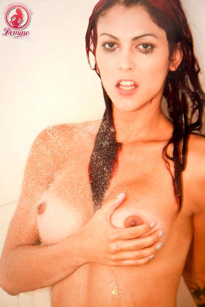 T-Girl Domino Presley - Beach Shower