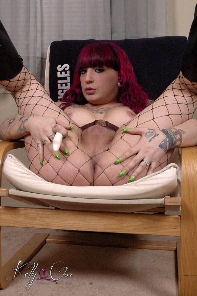 T-Girl Kelly Clare - Stripping Stroking And Playing