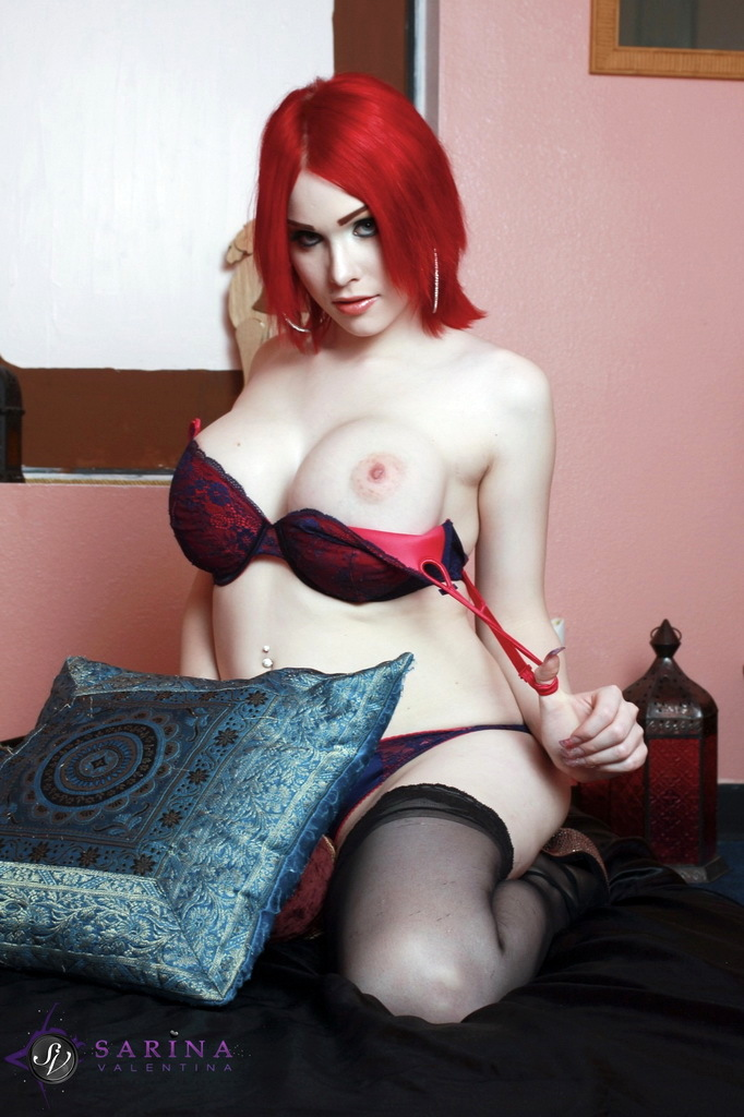 T-Girl Sarina Valentina - Red And Blue Lace