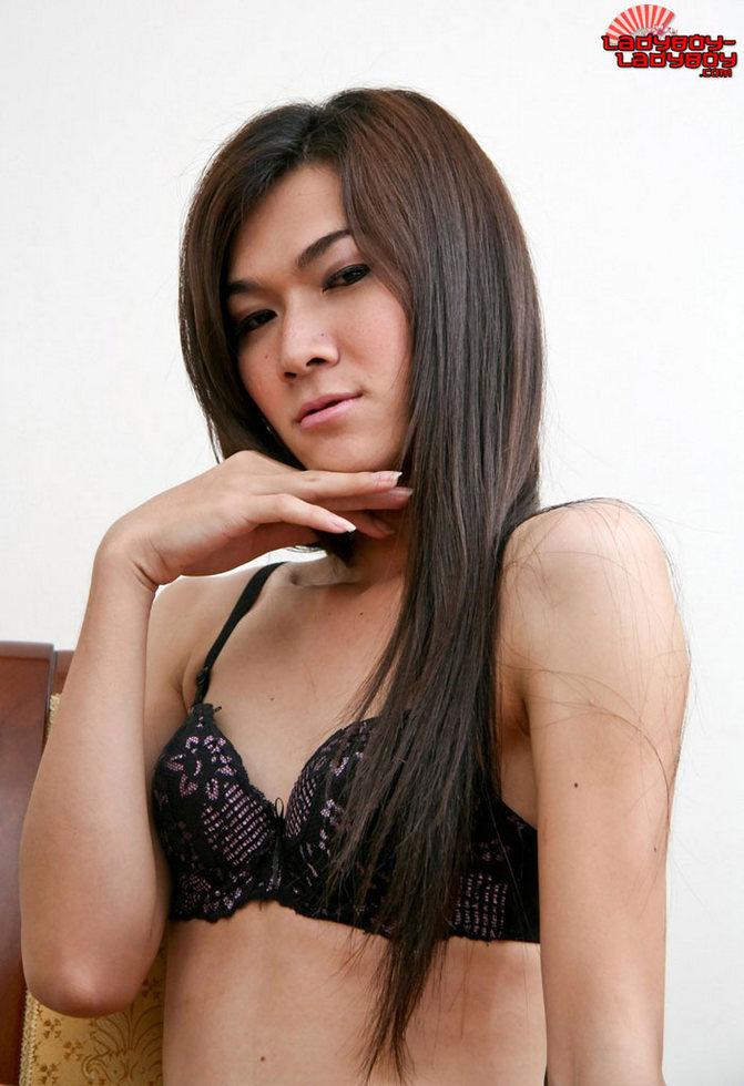 Thai Shemale - She Takes Off Her Black Lingerie