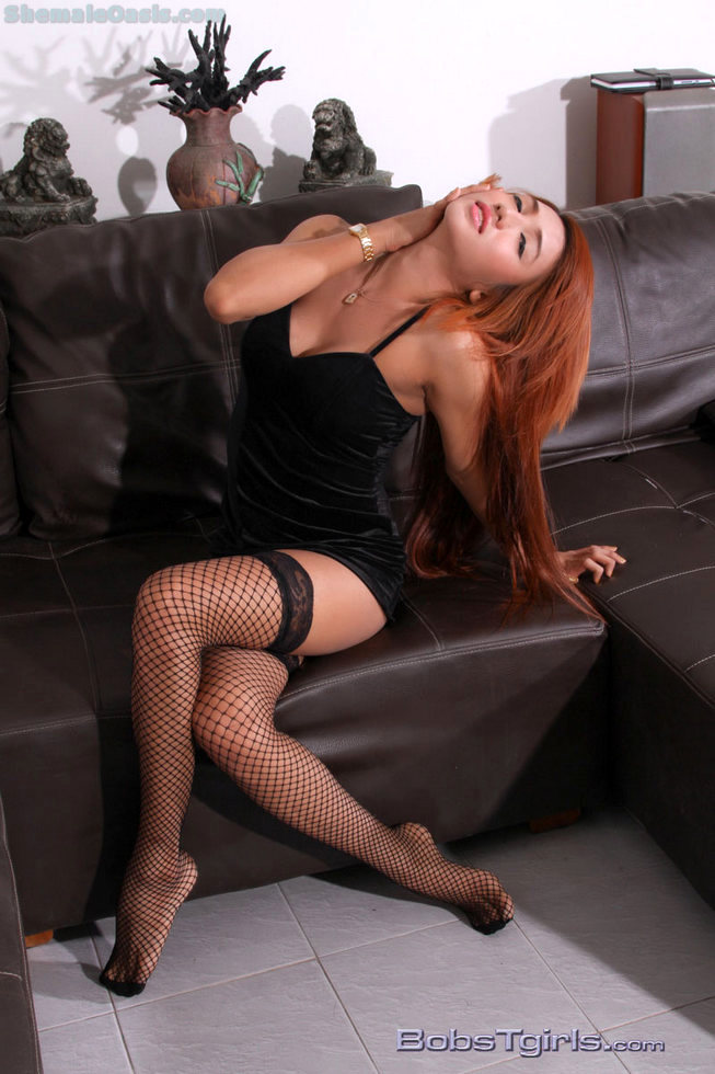 Thai Tgirl Sweet - Perfect Red Hair And Fishnets