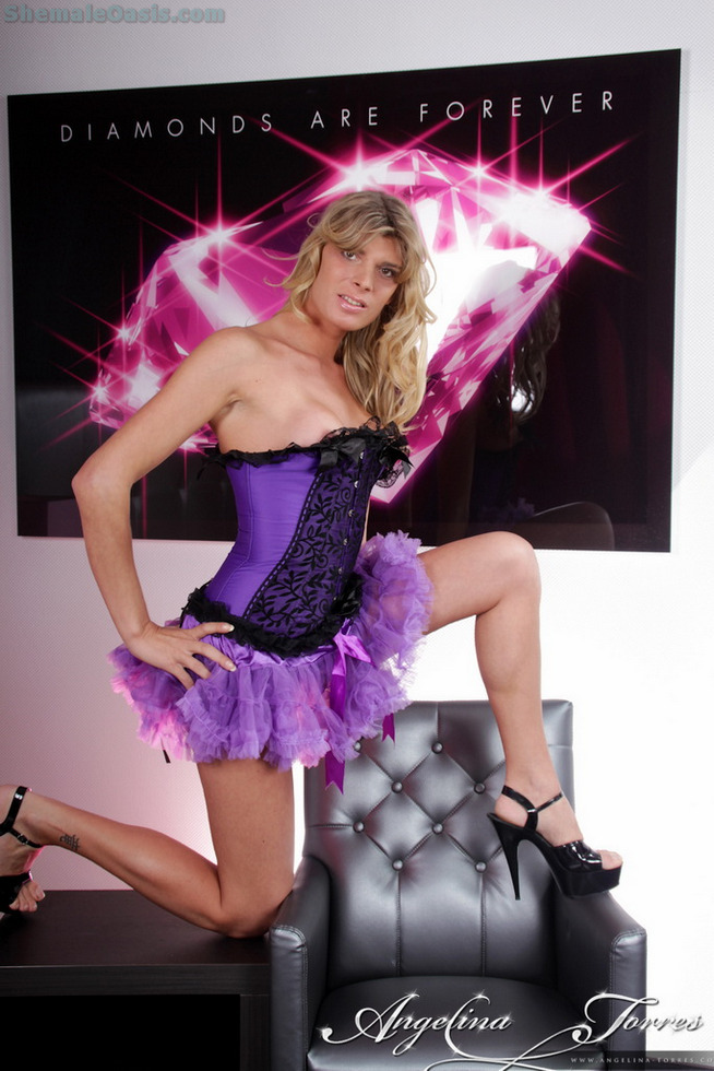 Transexual Angelina Torres - Purple Corset